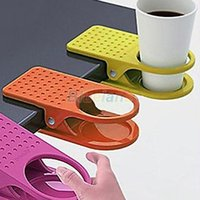Wholesale 1pc New Style Home Office Drink Plastic Cup Coffee Holder Clip Desk Table Candy Colors Sale ODI