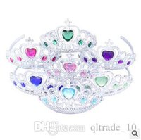 best diamond plastics - 50pcs LJJC2366 Colors High Quality Children Plastic Crown Frozen Hearts Diamond Tiaras Elsa Crown Children Best Birthday Christmas Gift