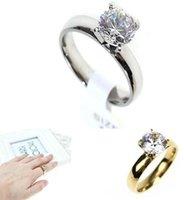 Femmes Bague solitaire mariée engagement cristal Swarovski Zircon Anneau Acier Titane mode or argent drop shipping bijoux