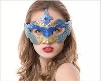 enamel paint - The new selling masquerade mask Venice glitter mask powder enamel multicolor hand painted half face masks