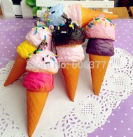 Wholesale Lovely Double scoop Ice Cream Squishy Phone Charm Bag Charm