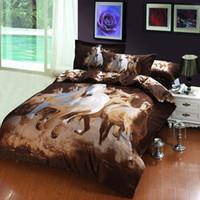 venda por atacado bedspread-pintura a óleo galope egípcia colchas de cama de algodão para camas / rainha completo com folha de capa de edredão / edredão de 4 conjuntos de cachecol / 5pc