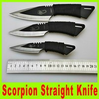 Wholesale Scorpion diving straight knife outdoor gear survival knife throwing knives with bylon Scabbard leging knife camping knife A473X