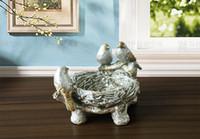 bedroom wall storage - Retro Pastoral Birds Home Accessories Resin Ornament Nest Decoration Jewelry Storage Box
