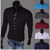 Wholesale Men Long Sleeve Cotton T shirts Turn Down Collar Patterns Shirt Autumn Casual Tees B05