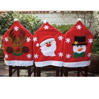 home furniture decoration - Christmas Red Santa Hat Design Chair Covers Home Indoor Furniture Snowman Reindeer Dinner Chair Cap for Christmas Decorations