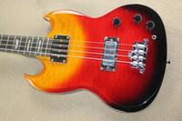 Hot Sale SG Maple couvre arc-en-3 nuages de couleurs guitare basse électrique 4 cordes Guitares EMS Drop Shipping gratuit