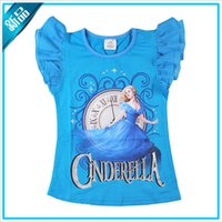 Wholesale Girls T shirt New Kids Summer Beautiful Cinderella Printing and Angle Sleeve T shirt Hot Children Sweet Round Collar and Candy Color T shirt