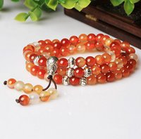 agate rosary beads - Natural red yellow agate beads charm bracelet hand woven luck agate rosary beads bracelet