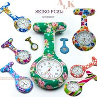 acrylic patterns - New pattern water transfer imprinted pulse FOB nurse brooch silicone watch for nurse PC21J movement nurse clip watch