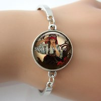 arts friendship - Fashion style jewelry for friendship alphonese Mucha Image Bangle Glass Cabochon Dome Art photo silver bracelet for girls GL34