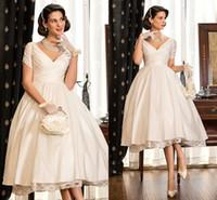 audrey bridal - Vintage AUDREY HEPBURN Style Tea Length Short Sleeves V Neckline Stain Lace A line Elegant Bridal Gowns Short Wedding Dresses