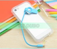 Cheap ROCK lightning flash Bump case phone protective shell with USB charger cable data line Cover for iPhone 4 4s 5 5s
