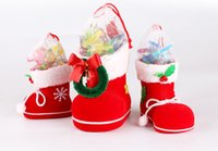 Wholesale Shoe Trees For Boots - Christmas Tree Decoration Hanging Xmas Bag Christmas Boots Candy Box for Kids Children Party Bags Boys Girls Santa Boot Shoes Stocking
