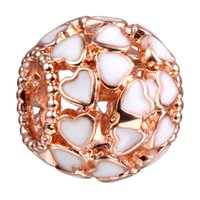 big pink rose - ROSE Gold Heart Copper Material Big Hole Loose Beads charm For DIY Jewelry Bracelet For European Bracelets DY41
