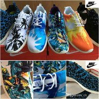palm trees - 2015 Nike Women Men White Palm Trees Sea Sky Blue Sunset Yellow Roshe Run Running Shoes Cheap FB Leopard Print Originals Trainers