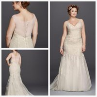 adorn covers - 2016 Lace A Line Wedding Dresses lace trumpet dress adorned with pearl beaded lace appliques bodice tulle skirt XL8MS251150 Plus Size Gowns