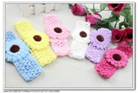 Wholesale NEW multicolor cute sunflower gerbera daisy baby kids infant Crochet Headbands elastic hairbands Fashion A162