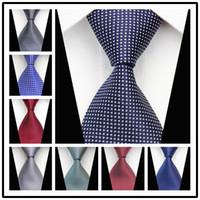 Precio de Venta al por mayor corbata roja-Seda mayor-CON54 geométrico del punto rojo de la raya gris Azul Naranja Nueva tejida clásica corbata de negocios casual para hombre de punto corbata corbatas 2015