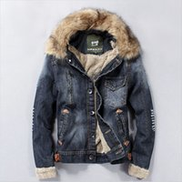 Wholesale Fall New Winter Men Clothing Jeans Coat Men Outwear With Fur Collar Wool Denim Jacket Thick Clothes