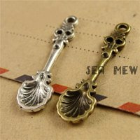 antique spoons lot - pieces Antique bronze silver plated vintage style metal zinc alloy spoon pendant charm jewelry hd2785