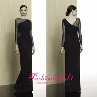 Wholesale Glamorous Black Long Sleeves Mother Of The Bride Dresses Sexy Chiffon Sheer Zipper Back Beads Floor Length Pleated Modern Prom Gown MB7313