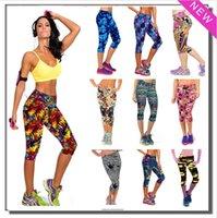 Wholesale 20 Designs Yoga Pants Women Fashion Floral Print Summer Style Women Sport Pants Skinny Sport Women Joggers Leggings