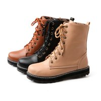 Cheap 2015 Big Size personality winter Women's Fashion ankle Boots Charm Solid Lace Up PU 3 Color Ladies Shoes W1OYL1807