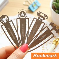Wholesale 12 Metal bookmarks Superman Captain Spiderman Batman Paper clips book marker Stationary Office School supplies