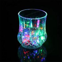 Wholesale Colorful Led Cup Wine Flashing Shot Glass Led Plastic Luminous Cup Neon Cup Birthday Party Night Bar Wedding Beverage Wine Flash Small Cup