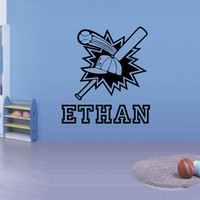 Decal baseball wall sticker - PERSONALISED Kids name BASEBALL Wall Sticker Boys Bedroom Nursery Wall Decals