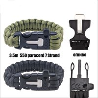 Wholesale 50pcs in travel kit Survival Flint Fire Starter Paracord Whistle Gear Buckle Camping Ignition Rescue Rope bracelet