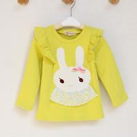 Wholesale Children Korean cotton girls T shirt autumn new lace cartoon T shirt round neck sweater buck