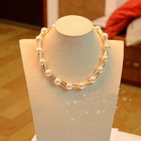 bamboo choker necklace - New Arrivals Sale Choker Chunky Pearl Necklace For Women Torque Bamboo Joint Golden Party Jewelry Colar