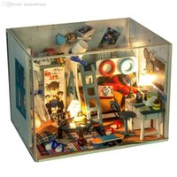 Wholesale DIY Miniature Kit Detective Conan s Room Wooden Doll House Big Size House Toy With wood furniture Voice Control LED Light