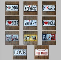 tin sign - 2015 fashion cm I LOVE world famous city license poster tin sign Coffee Shop Bar Restaurant Wall Art decoration Bar Metal Paintings