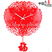 Wholesale Chinese style wall clocks fashion art hanging clocks red mute clock decoration clocks Chinese paper cutting style