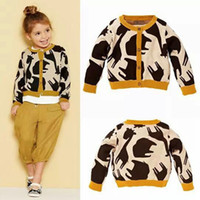 Wholesale Cardigan Sweaters For Children - kid girls sweater cardigans giraffe cardigan elephant cardigan knitwear children buckle sweater for autumn and winter free shipping in stock