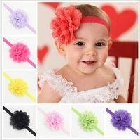 Wholesale 2015 Baby Headband Fashion Girl Lace Flower Hair Bows Band Headbands Hair Accessories