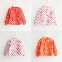 Cheap Girls Shirt Sweet Polka Dots Cotton Cute Spring and Autumn New Princess Long Sleeved Kids Coat Little Girl Lace Pleated Temperament Clothing