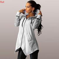achat en gros de zip sweatshirt-Design Automne Femmes Sweatshirt Lettres Printemps Zip Imprimé Up Hooded Cardigan Noir Gris Irrégulier Outerwear Hoodies Retour fendus plus SV028977