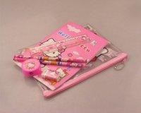 Wholesale in hello kitty stationery set pencil case notebook pens ruler eraser pencil sharpener sets