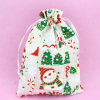 Wholesale Set of cm Satin Christmas Theme Bags Fabric Pouches Drawstring Jewelry Sachet Gift Bags