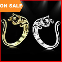 Wholesale Europe Fashion Cat Ring Animal open Adjustable Cluster finger Ring cuff With Rhinestone Eyes women statement Jewelry Christmas gift