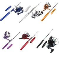 Precio de Caña de pescar en venta-[Inmejorable A $ X.99] 6 colores mini portátil de la pluma del bolsillo de la pesca de aluminio Rod poste + carrete de Baitcasting Hot Rods Venta