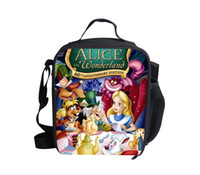 Wholesale Alice in Wonderland D Cartoon Print Girls Lunch Bag for Food Cute Thermal Kids Lunchbox Mochila Trendy Children Insulated Box