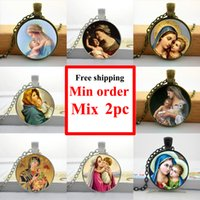 al por mayor bebe jesus-NS - 00618 Virgen María Madre de Bebé Neckalce Jesucristo Cristiano Joyas Collar de fotos de vidrio