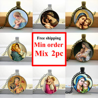 Wholesale NS Virgin Mary Mother of Baby Neckalce Jesus Christ Christian Jewelry Glass Photo Necklace