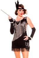 Wholesale Sexy Black Silver Bling Sequin Tassel Fringe Dress Women s Flapper Costume E8819 Fancy Halloween Party Cosplay Costumes Headwear