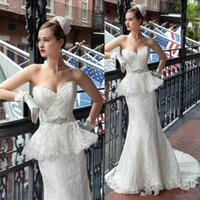 Trumpet/Mermaid Reference Images Sweetheart Fashion Lace Peplum Mermaid Wedding Dresses Beads Sash Chapel Train Vintage Garden Bridal Party Gowns 2014 Free Shipping Demetrios Bride